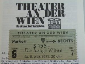 チケットDie lustige Witwe 1971.8.8 午後8時